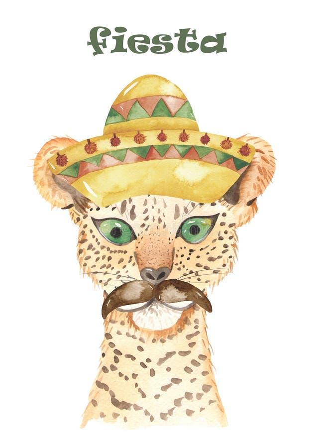 Watercolor invitation poster with cute cartoon llamas, possum, jaguar in headbands. vector illustration