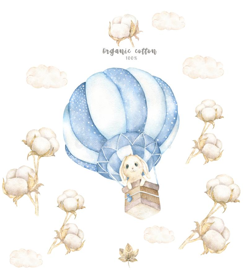 Watercolor isolated cute watercolor Bunny in air balloon and cotton clipart. Nursery rabbit illustration. Baby poster. Trendy pink royalty free illustration