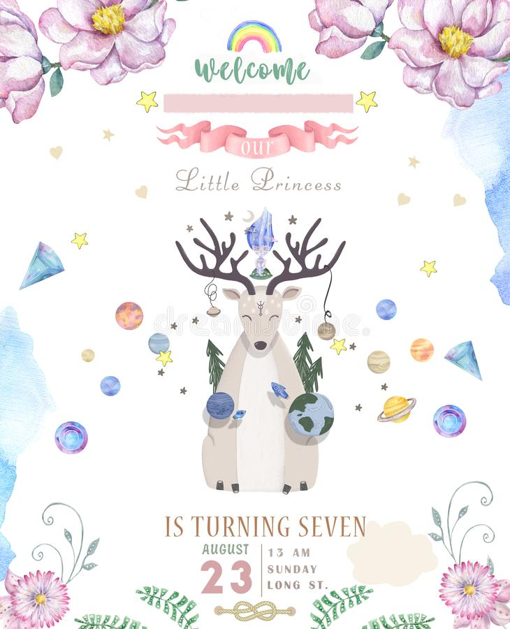 Watercolor isolated cute watercolor Deer clipart. Nursery Cosmic illustration. Solar planet poster. Trendy pink cartoon stock illustration