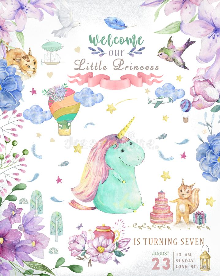 Watercolor isolated cute watercolor unicorn clipart. Nursery unicorns illustration. Princess unicorns poster. Trendy stock photos