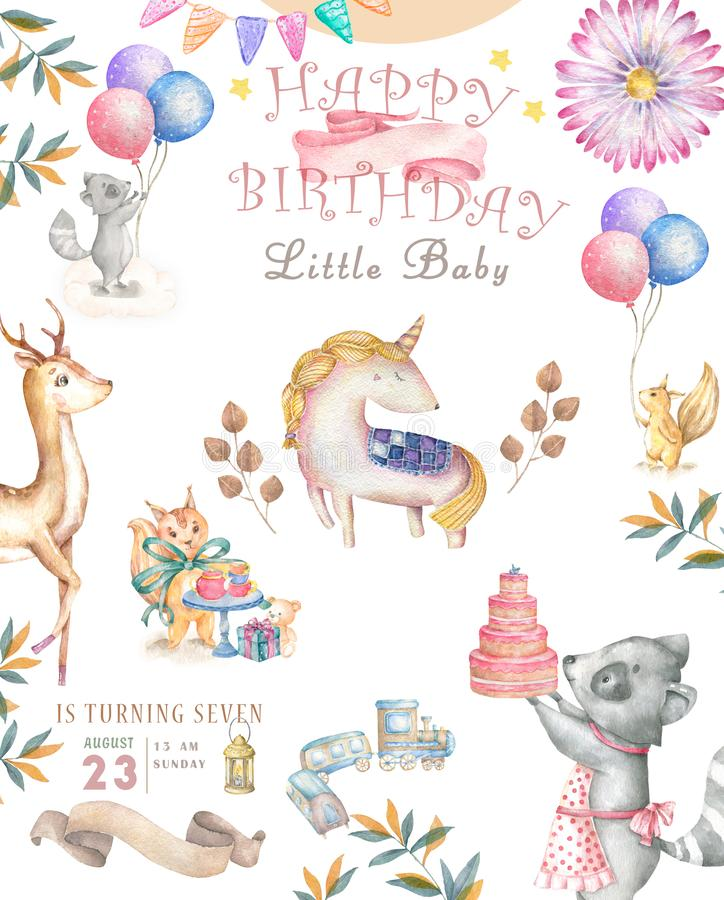 Watercolor isolated cute watercolor unicorn and sqirrel clipart. Nursery unicorns illustration. Princess unicorns poster. Trendy stock illustration