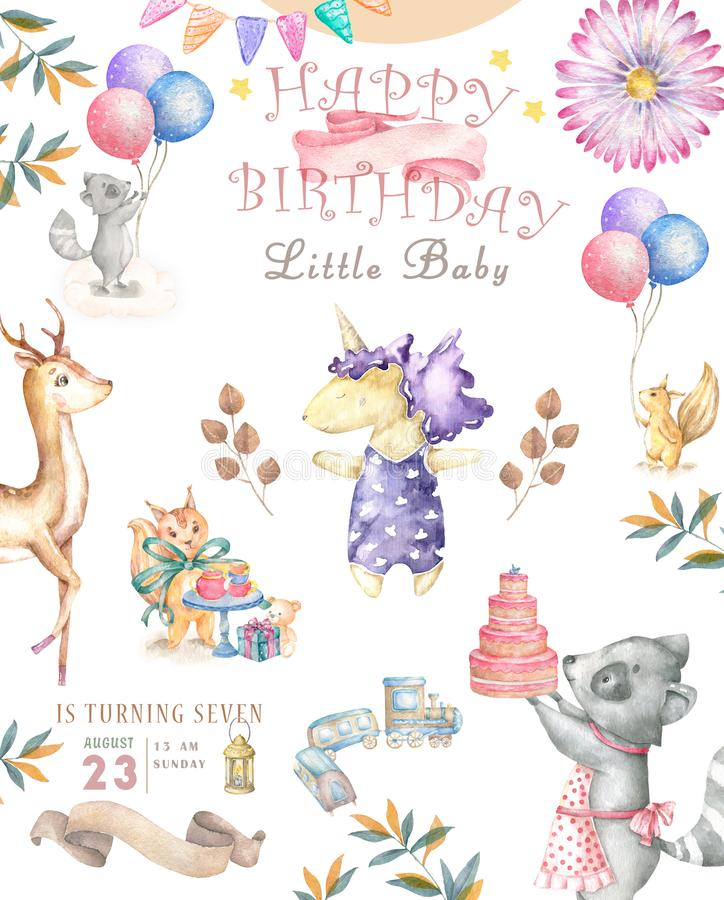 Watercolor isolated cute watercolor unicorn and sqirrel clipart. Nursery unicorns illustration. Princess unicorns poster. Trendy royalty free illustration