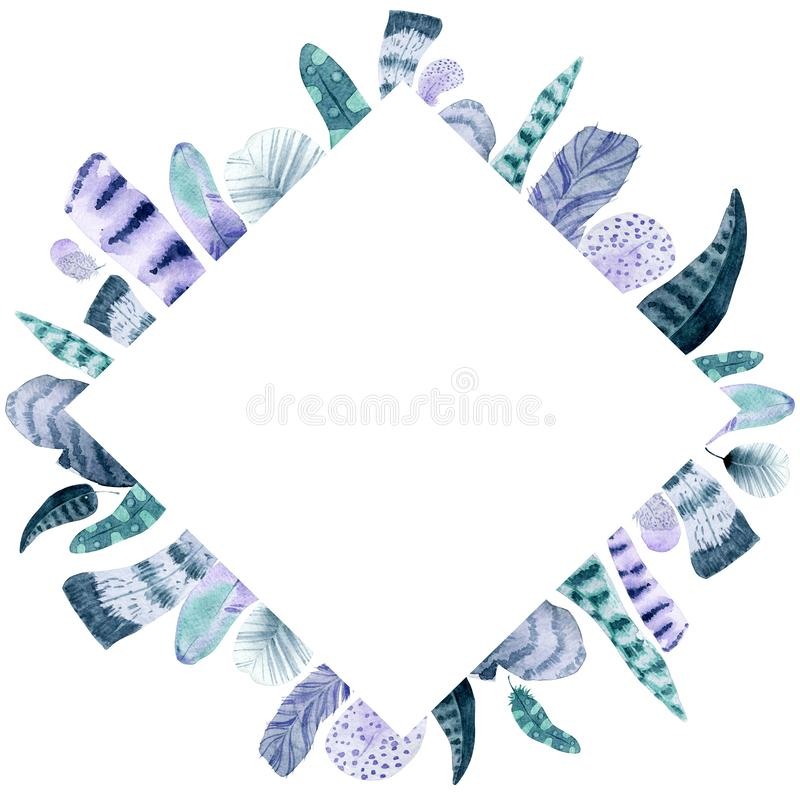 Watercolor isolated feather rhombus frame stock photos