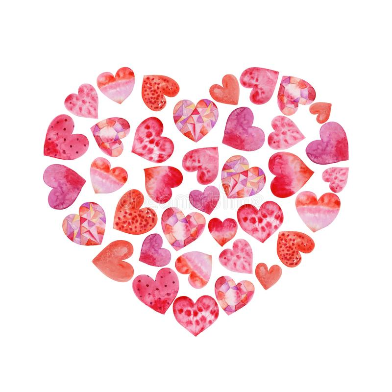 Watercolor isolated heart with hearts inside. For your design royalty free stock photo