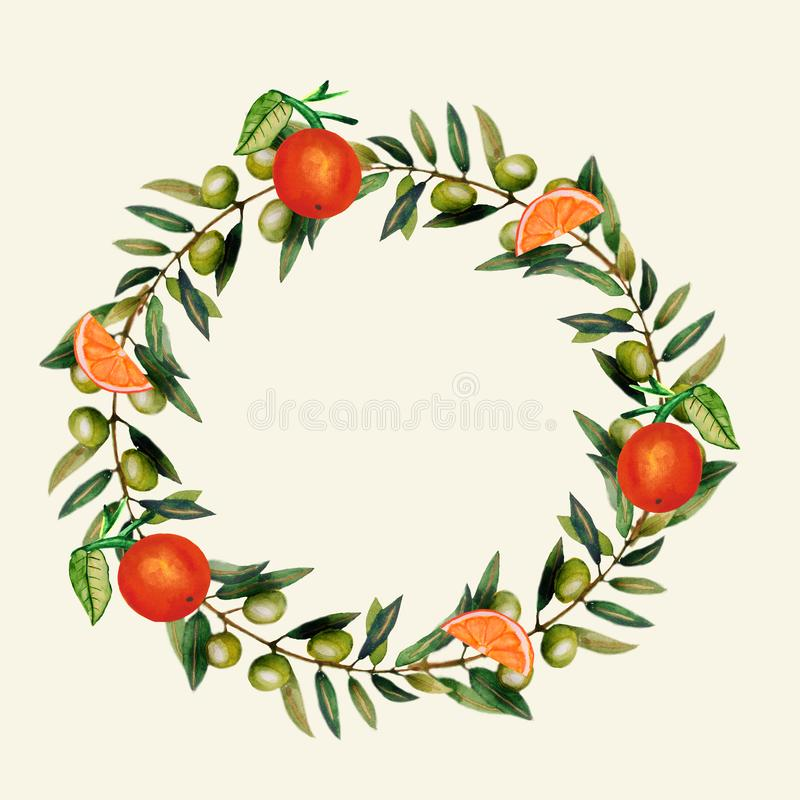 Watercolor. Isolated oranges with leaves. Illustration of citrus juicy fruit with olive branch for the design of wedding. Invitations, greeting cards royalty free illustration