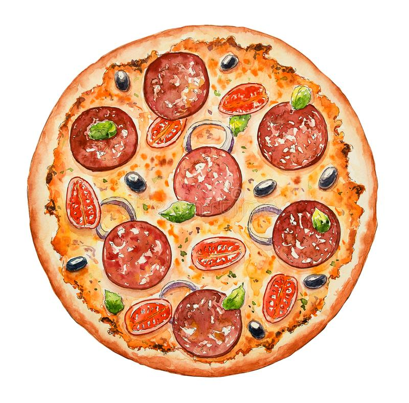 Watercolor Italian pizza. Beef snack with salami, olive,  sausage, cheese, bacon and vegetables. Hand drawn fast food. Design for royalty free illustration