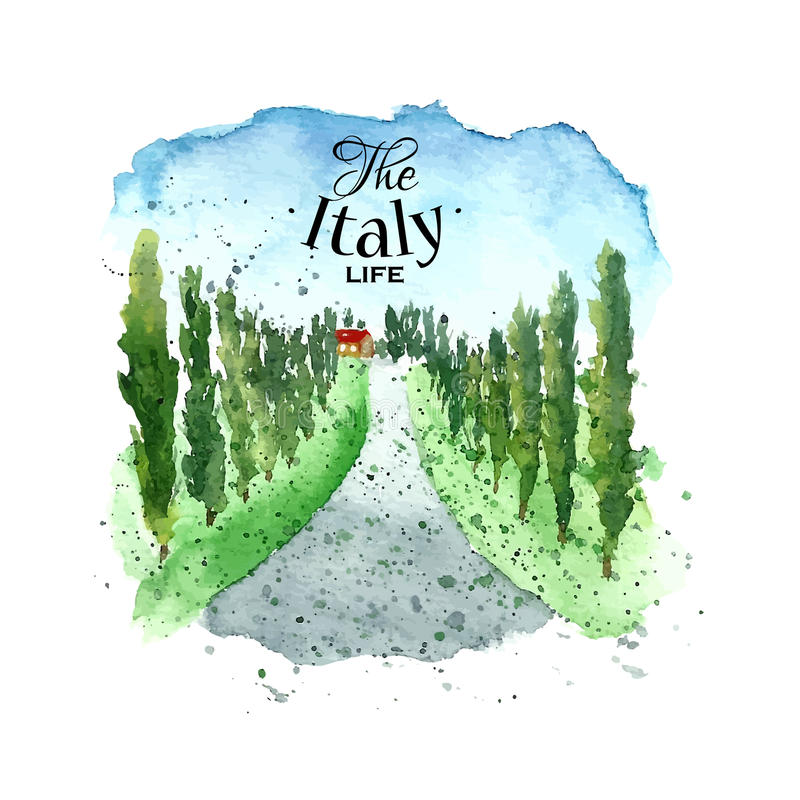 Watercolor Italy landscape. Watercolor Italy Tuscany. Hand drawn painting landscape. Vector illustration royalty free illustration