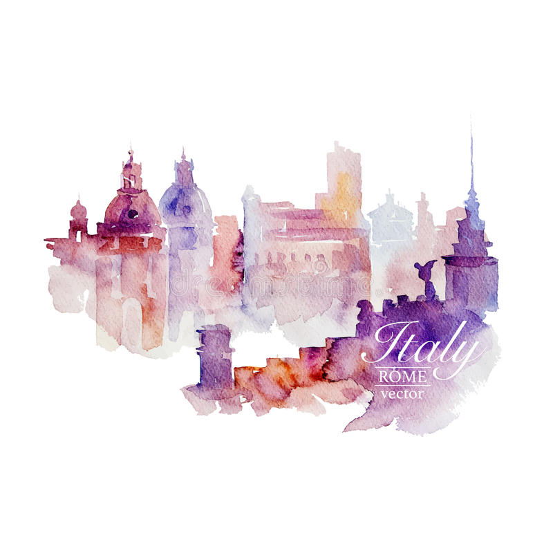 Watercolor Italy Rome on white background. royalty free illustration