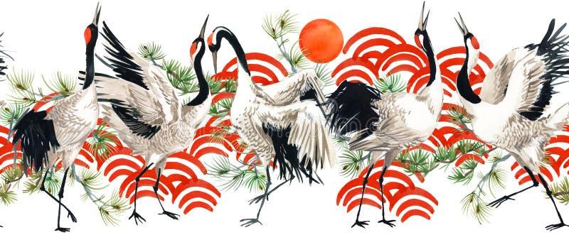 Watercolor Japanese crane bird seamless pattern royalty free illustration