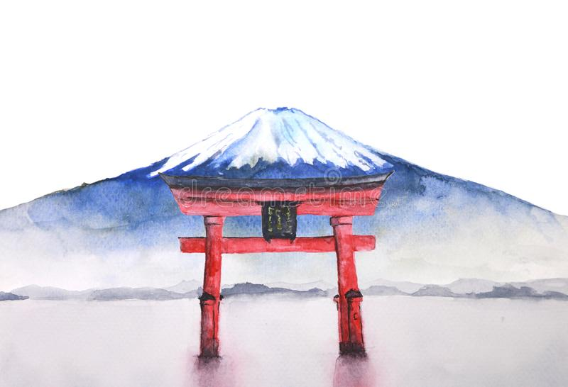 Watercolor japanese fuji mountain and torii gate. Watercolor painting japanese fuji mountain and torii gate vector illustration