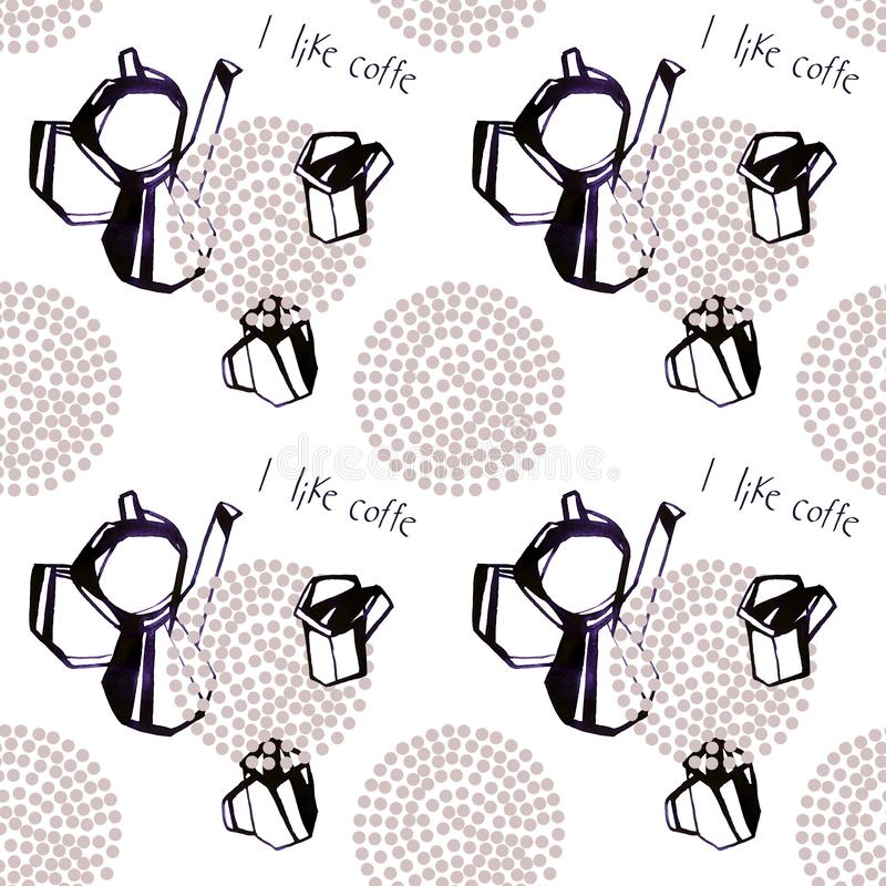 Watercolor kettle and coffee cups seamless pattern illustration on white background. stock illustration