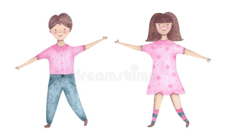 Watercolor kids boy and girl isolated on white background. Baby shower birthday card for children decoration kid illustration royalty free illustration