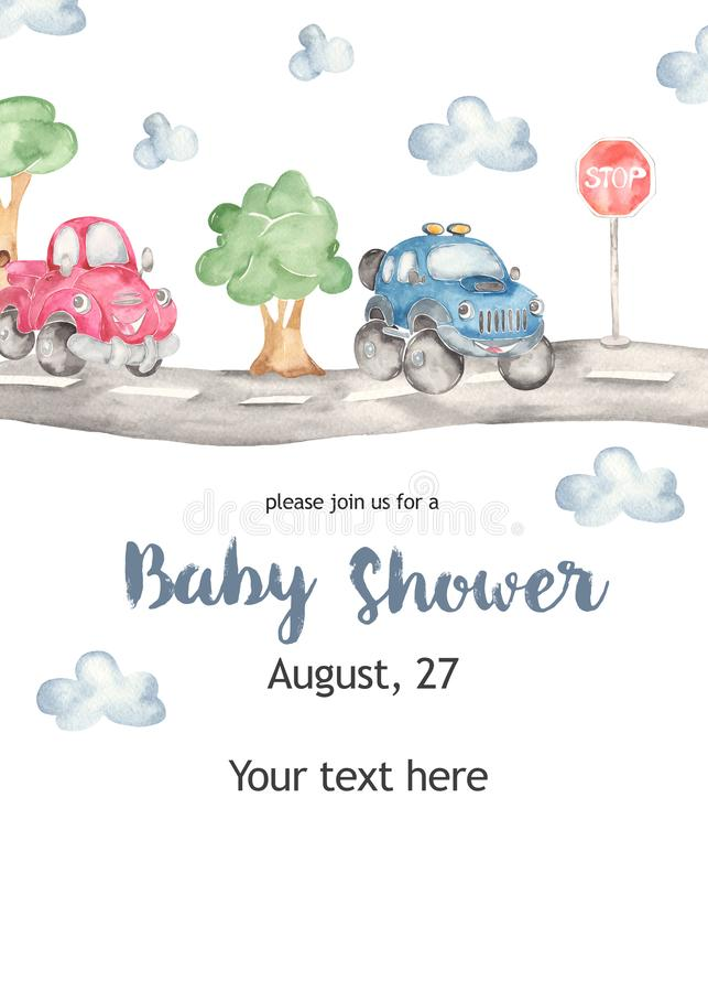 Watercolor kids card with cute truck and pickup baby shower. Watercolor collection Cute cars for a boys. Cartoon illustartions: car beetle, jeep SUV off road stock illustration