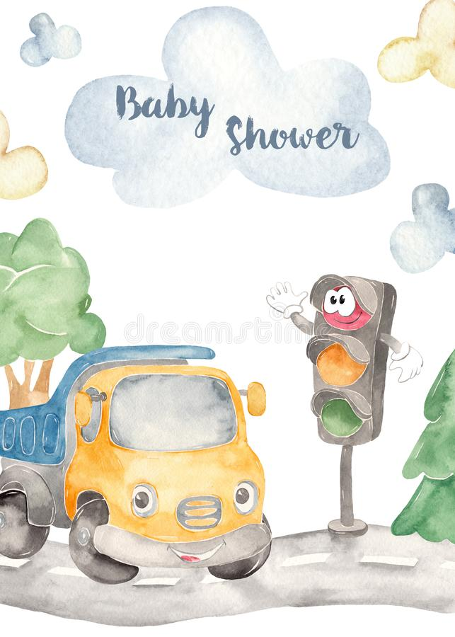Watercolor kids card with cute truck and traffic light. Watercolor collection Cute cars for a boys. Cartoon illustartions: car beetle, jeep SUV off road, school vector illustration