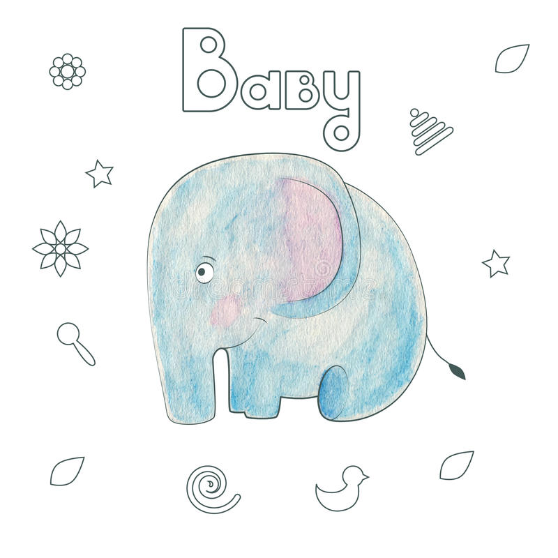 Watercolor kids print. Funny gentle elephant stock illustration
