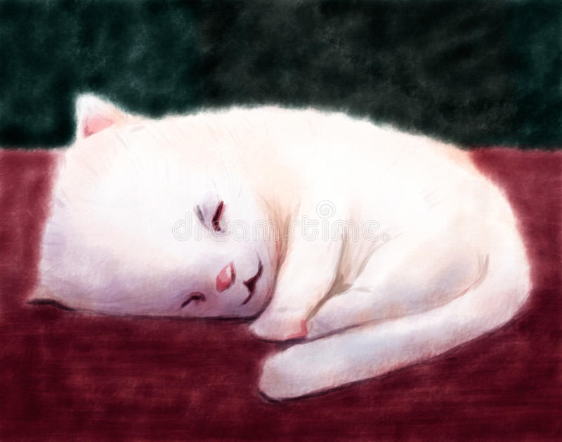 Watercolor Kitty Stock Images