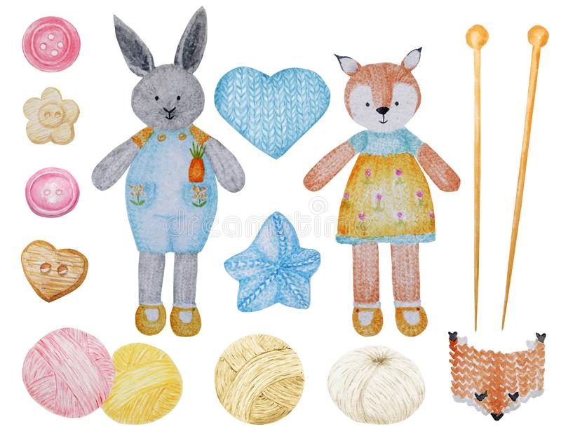 Watercolor Knitted Fox and rabbit, Wool Yarn Cute Clipart Set. Collection of hand drawn knitted Toys, balls of yarn royalty free illustration