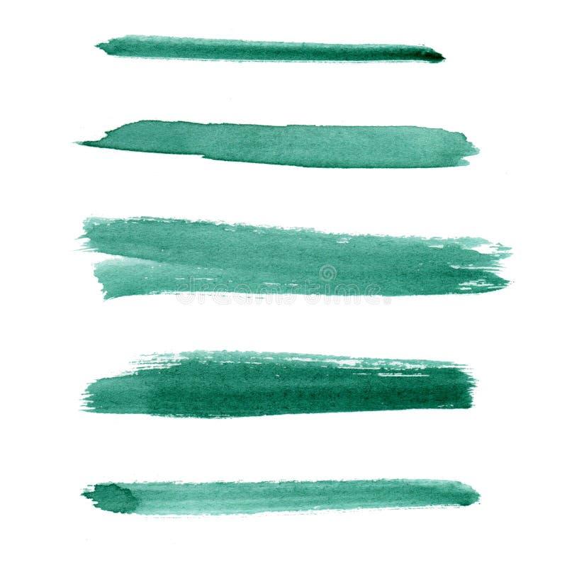 watercolor L'estratto di verde smeraldo ha dipinto i colpi dell'inchiostro messi sulla carta dell'acquerello Isolato su bianco illustrazione vettoriale