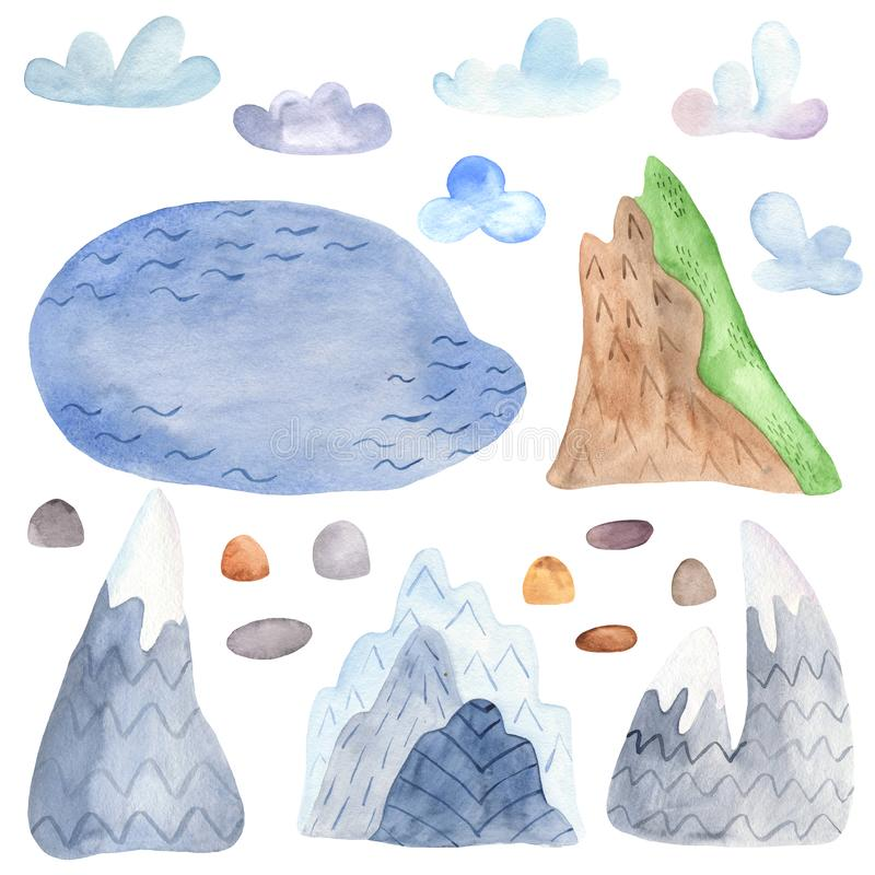 Watercolor lake, stones, clouds, mountains. vector illustration