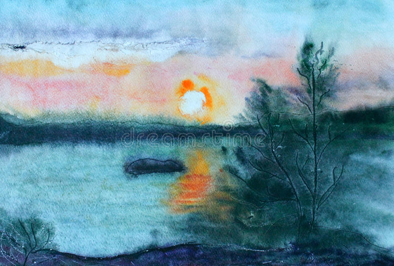 Watercolor landscape vector illustration
