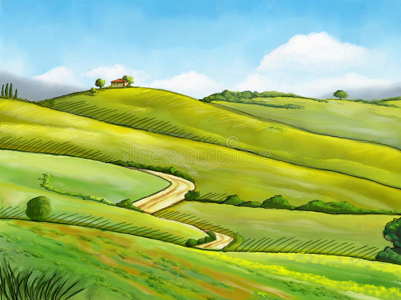 Watercolor landscape royalty free illustration