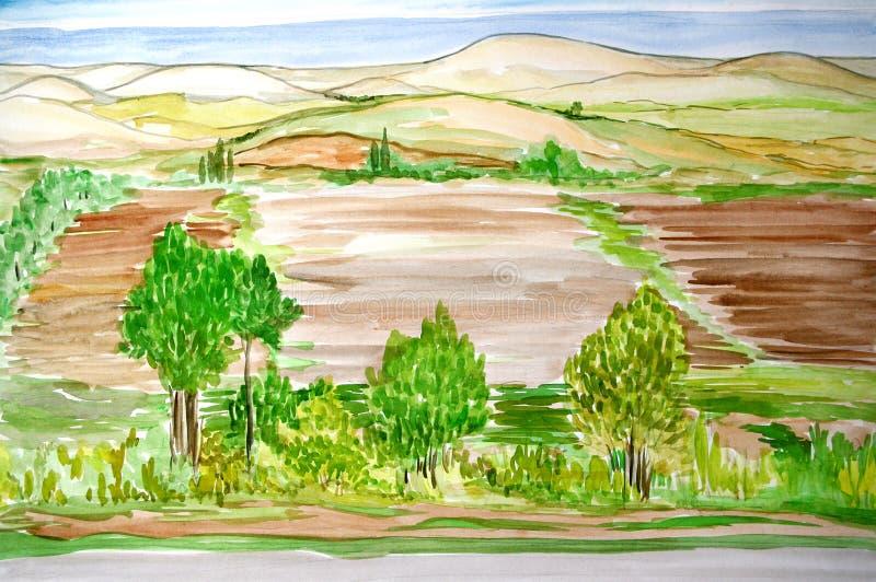 Watercolor landscape. Watercolor Crimean spring roadside landscape stock illustration