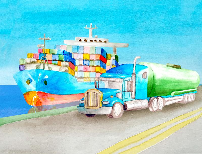 Watercolor landscape of an asphalt empty gray road with two continuous stripes. The field in the background. Forest on the horizon. A container ship floats on vector illustration