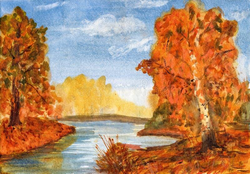 Watercolor landscape autumn forest stock illustration