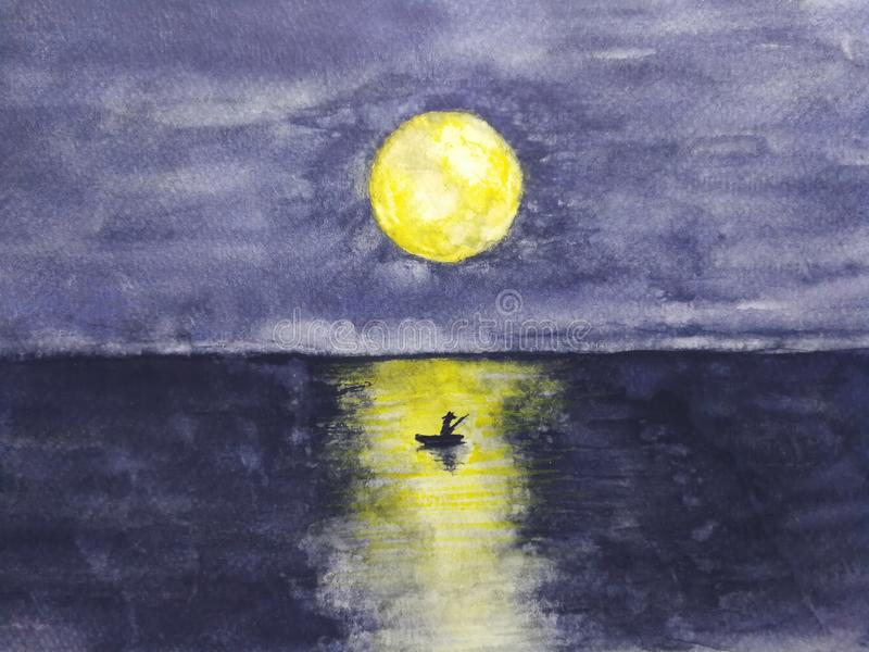 Watercolor landscape boat and the man lonely in ocean with full yellow moon reflection in water. royalty free illustration