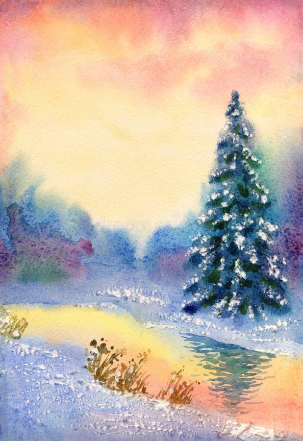 Watercolor landscape. Brook in winter forest vector illustration