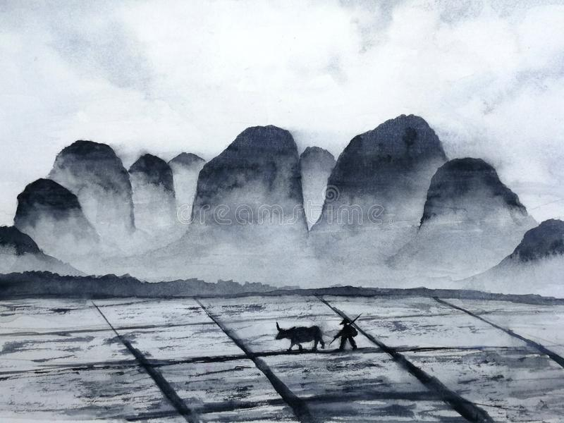 Watercolor landscape chinese mountain field with buffalo and farmer man in the countryside.traditional oriental ink asia art style royalty free illustration