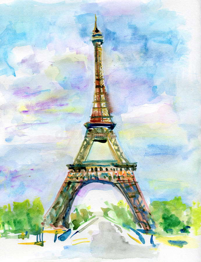 Watercolor landscape stock illustration. Illustration of ...  Eiffel Tower Painting Landscape