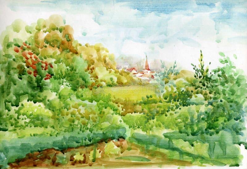 Watercolor Landscape Collection vector illustration