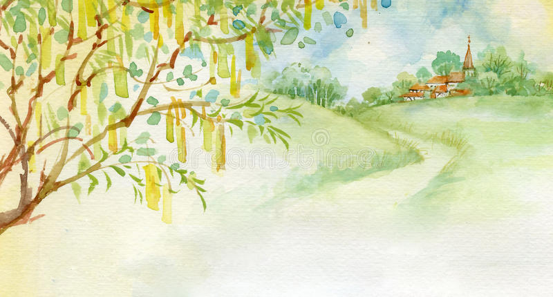 Watercolor Landscape Collection. Beautiful summer landscape in the background of the village Easter theme watercolor stock illustration