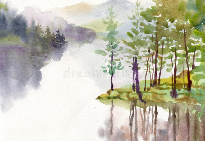 Watercolor Landscape Collection stock illustration