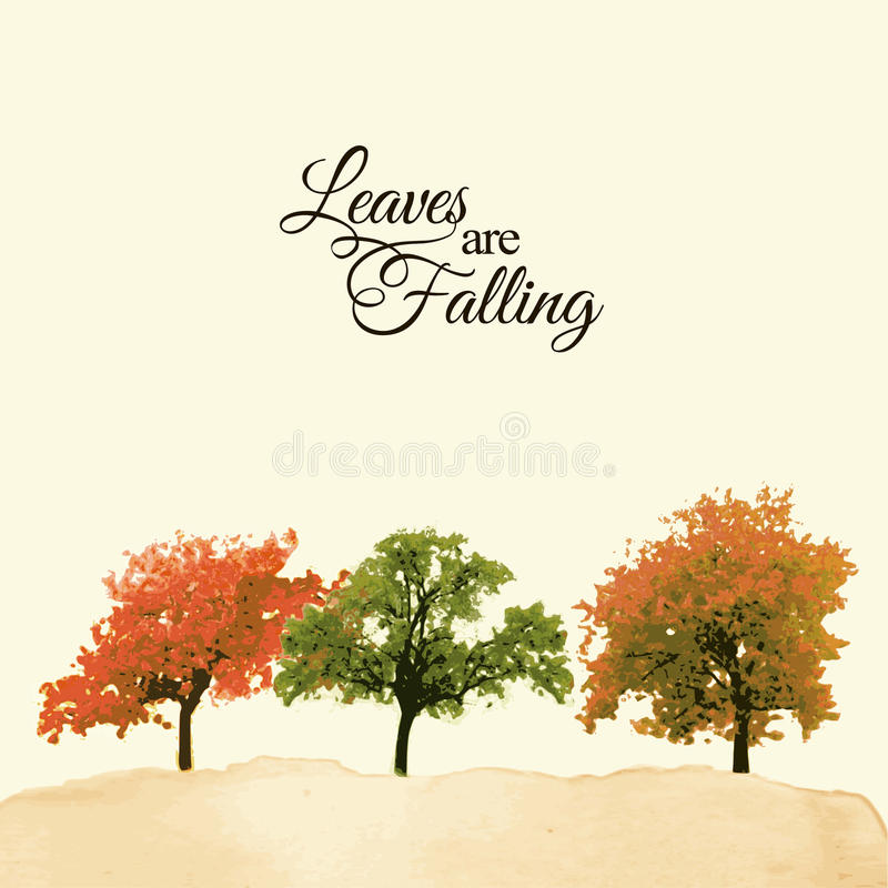 Watercolor landscape with colorful trees, autumnal, fall concept vector illustration