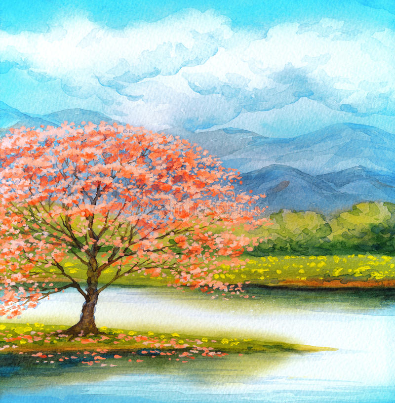 Watercolor landscape flowering pink tree by lake stock for Watercolor scenes beginners
