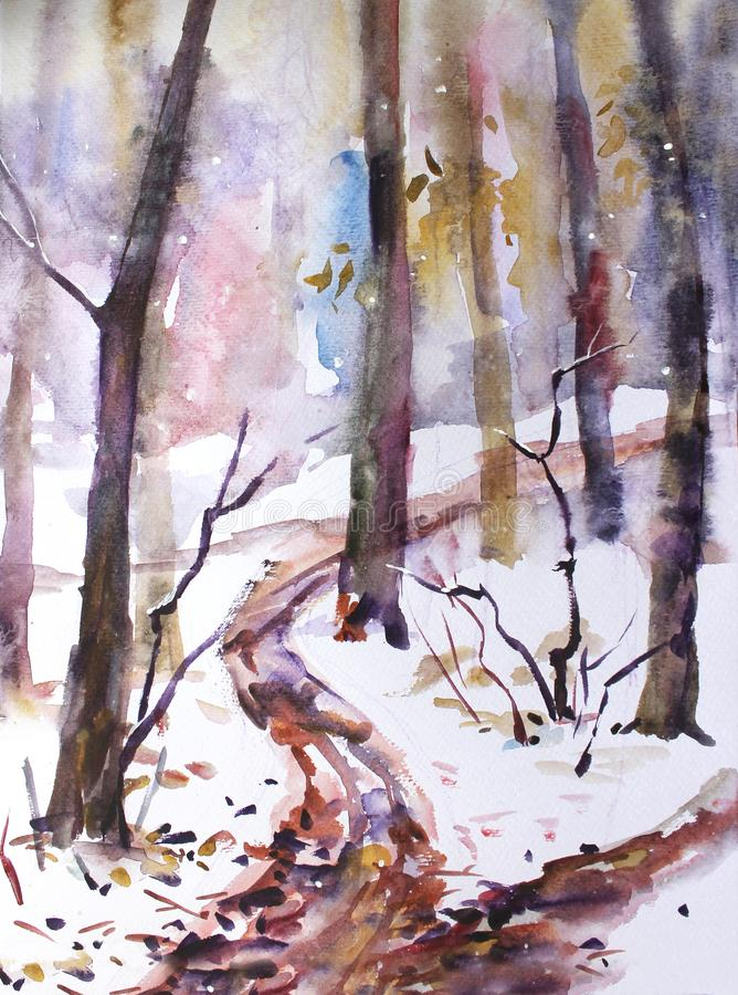 Watercolor landscape. In the forest, the first snow fell stock illustration