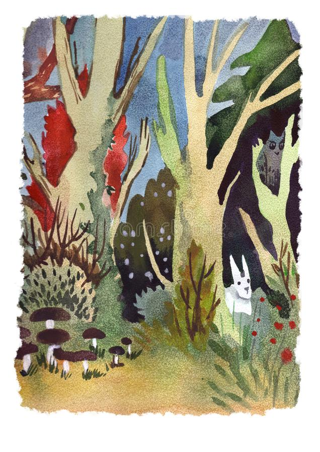 Watercolor landscape forest wood with animalls royalty free illustration