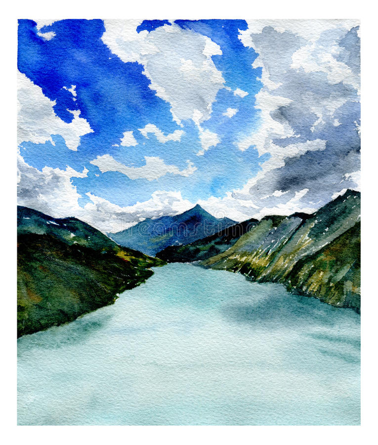 Free Watercolor Landscape. Lake, Mountains And Sky With Clouds. Stock Photos - 80226653