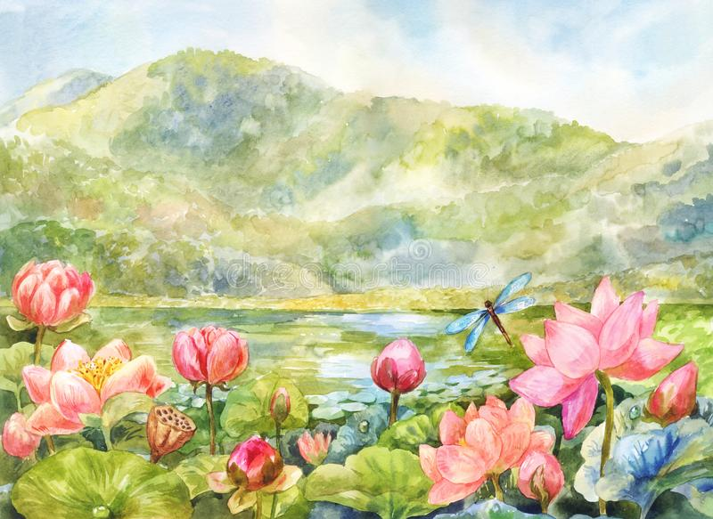 Watercolor landscape with lotuses, mountains and lake. Sunny day, beautiful summer illustration. Lotuses in the valley. Watercolor mountain landscape suitable vector illustration