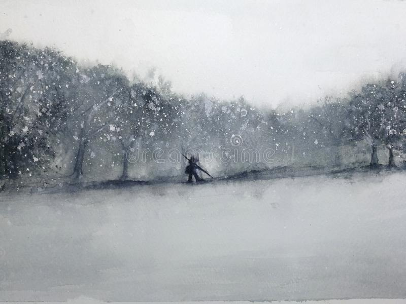 Watercolor landscape man walking through the forest in the snow storm. traditional oriental. asia art style stock illustration