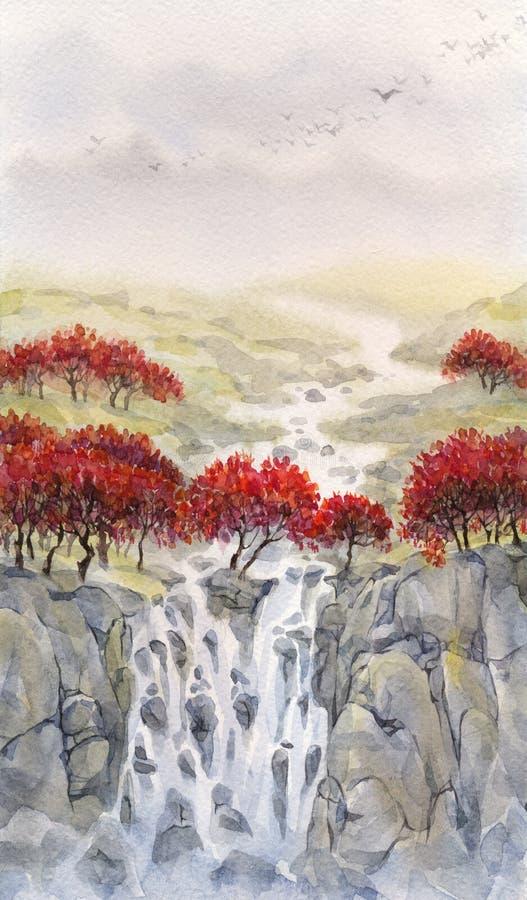 Watercolor landscape. Mountain stream flows through the autumn f stock illustration