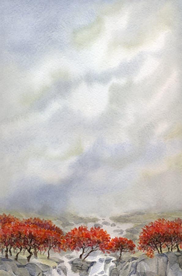 Watercolor landscape. Mountain stream flows through the autumn stock illustration