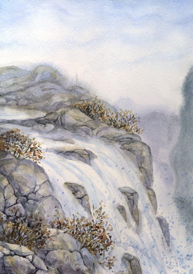 Watercolor landscape. Mountain waterfall stock image
