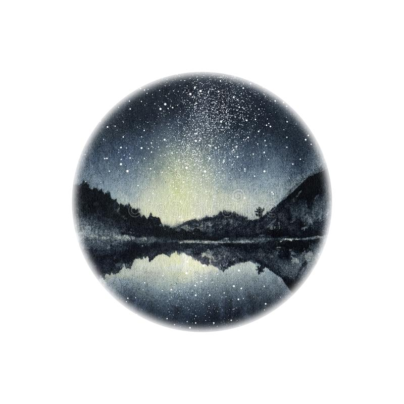 Watercolor landscape night lake hand drawn illustration. Watercolor landscape sunset mountains hand drawn illustration. Round frame with silhouettes of vector illustration