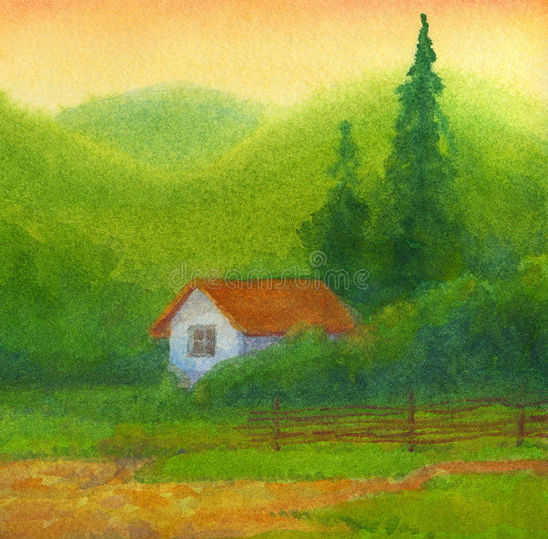 Watercolor landscape. Old house under hills at sunset. Watercolor landscape. Old house fenced wattle stands under hills at sunset royalty free illustration