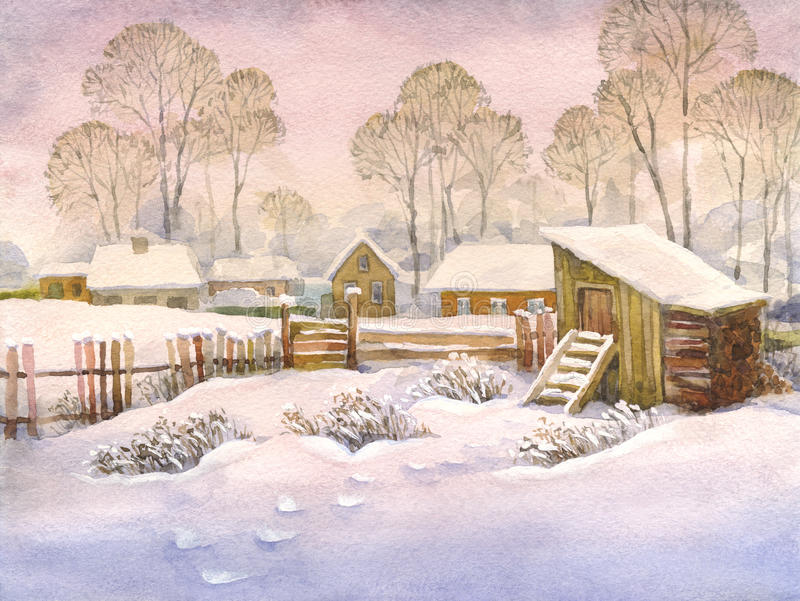 Watercolor landscape of old winter village. Watercolor landscape of winter village. High snow drifts in the yard with an old wooden fence and shed stock illustration