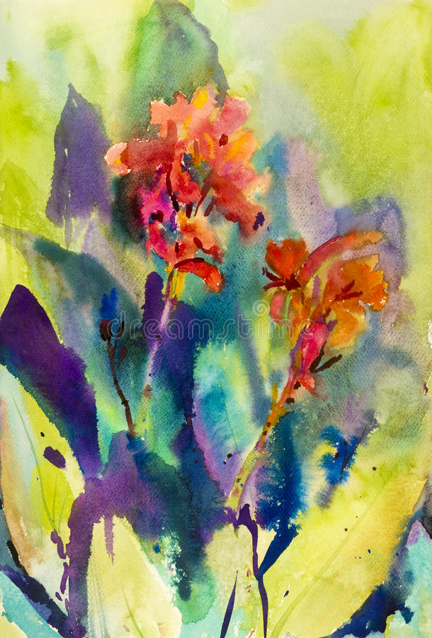 Watercolor landscape original painting colorful of canna lily flower. And emotion in green leaves background royalty free illustration