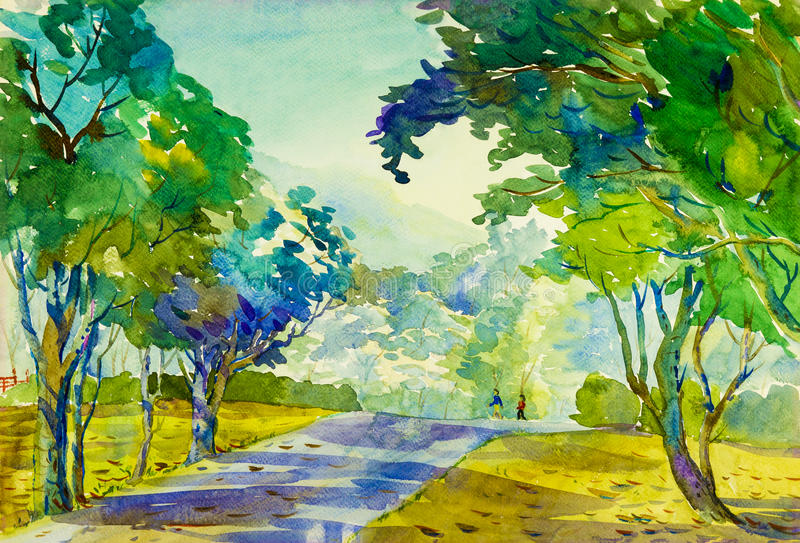 Watercolor landscape original painting colorful of morning workout and emotion. In mountain and garden with vector illustration